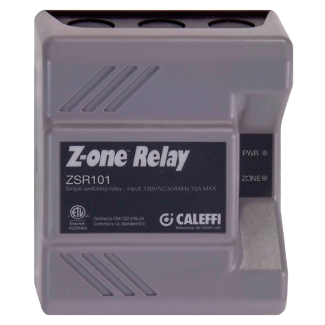 CALEFFI ZSR101 SINGLE ZONE PUMP RELAY; 120 VAC pump outputs