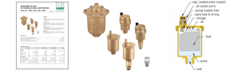 Air vents, MINICAL, check valves