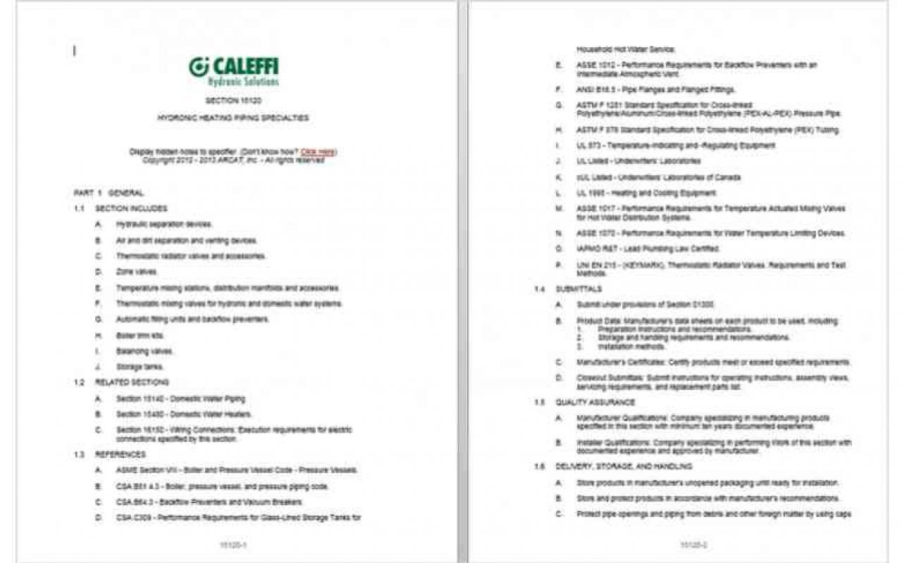 CSI MasterFormat™ 3-Part Specifications | Caleffi