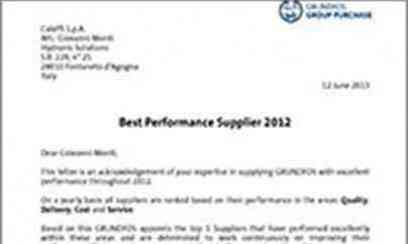 Grundfos acknowledges Caleffi quality among the 2012 top 5 suppliers