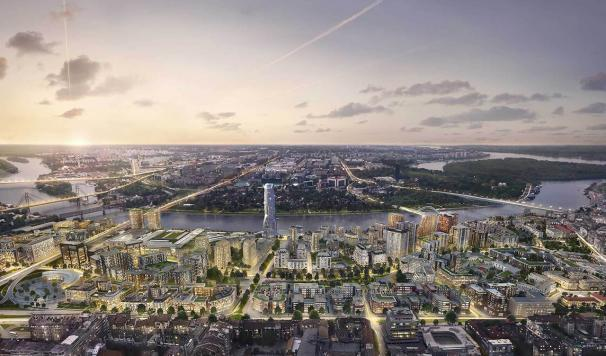 Belgrade Waterfront at Dusk - Render. Caleffi among the suppliers