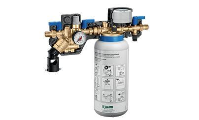 Caleffi automatic water treatment and automatic compact charging unit with backflow preventer