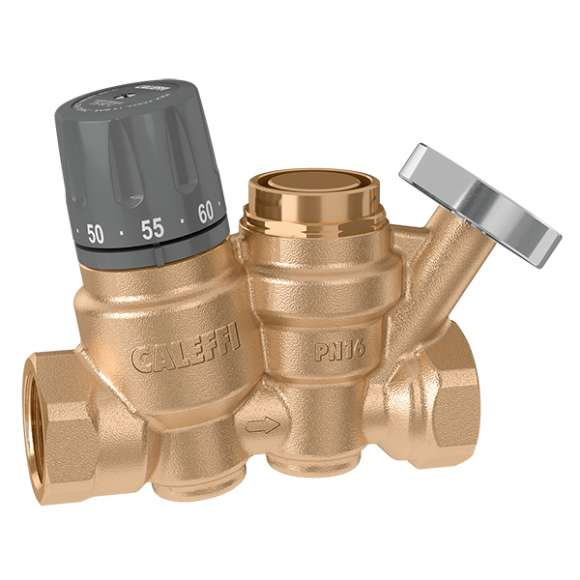 116 - Thermostatic regulator for domestic hot water recirculation circuits. With automatic thermostatic thermal disinfection function