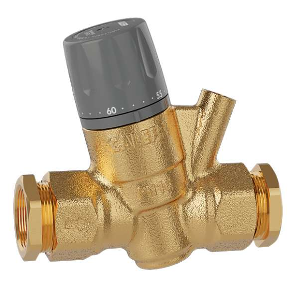 116 - Thermostatic regulator for domestic hot water recirculation circuits. Compression fittings connections