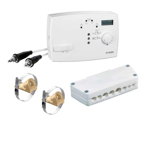 161 - Цифров регулатор на температура за отопление и климатизация в комплект със сензори на подаващия и връщащия кръг и гнездо за контактни сензори.