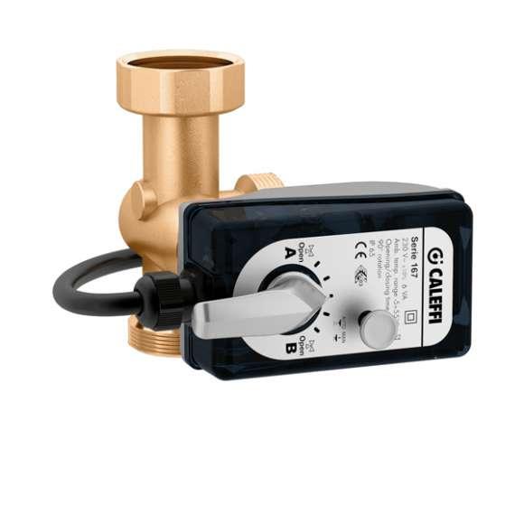 167 - Drie-weg ventiel (gelijk percentage/lineaire regeling) en driepuntsregeling servomotor. Linkse uitvoering.