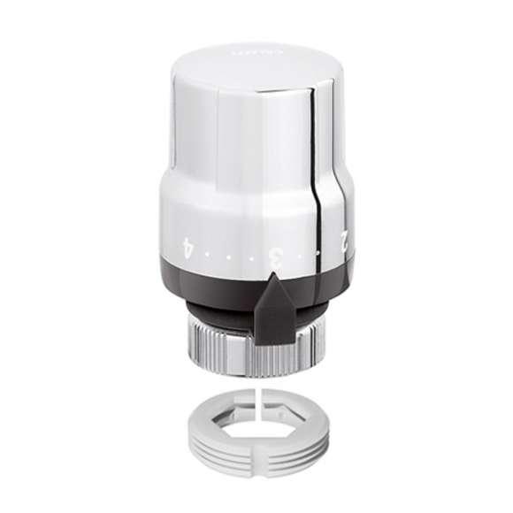 200 - Comando termostático para válvulas termostatizáveis para toalheiros, com sensor.Cromado brilhante.Com adaptador