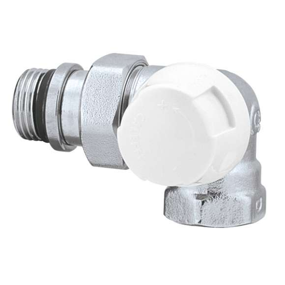 225 - Double-angled lockshield valve. Right-hand version. Chromed plated. For iron pipe