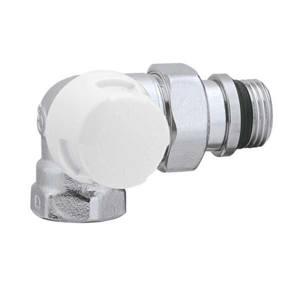 225 - Double-angled thermostatic radiator valve for steel pipes (and copper pipe with 441 series). Left-hand version