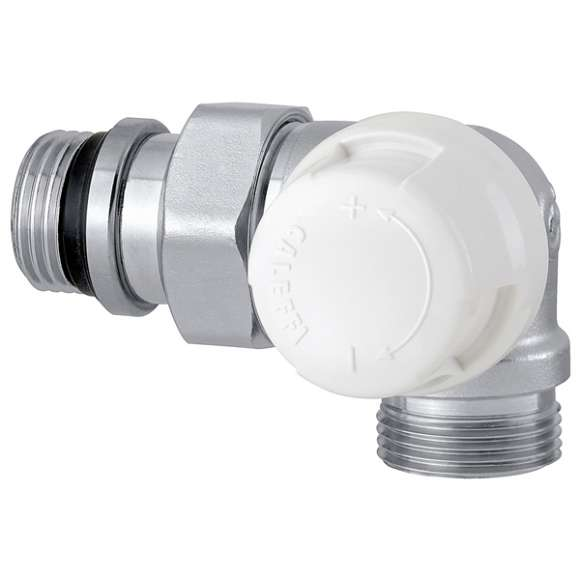 226 - Double-angled lockshield valve. Right-hand version. Chrome plated. For copper, single and multilayer plastic pipes