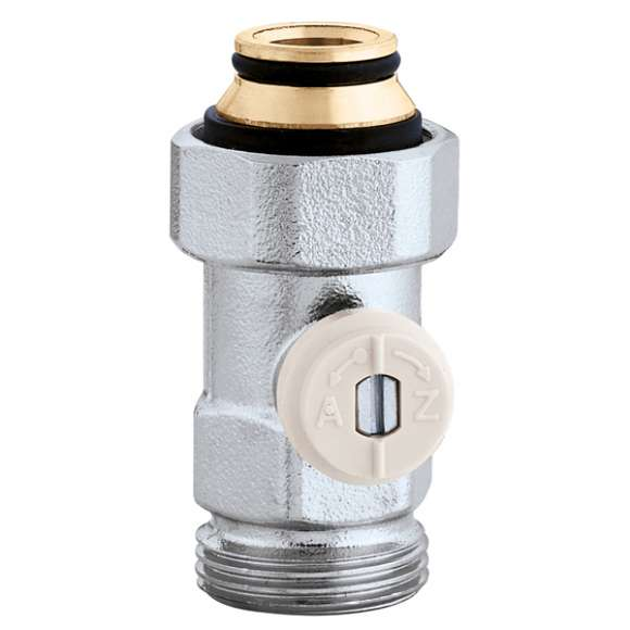 "3014 - Straight single valve for panel radiators with built-in thermostatic valve unit (floor connections) - 3/4"" M"