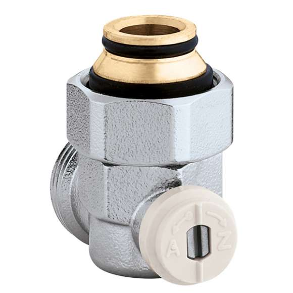 """3015 - Angled single valve for panel radiators with built-in thermostatic valve unit (wall connections) - 3/4"""" M"""