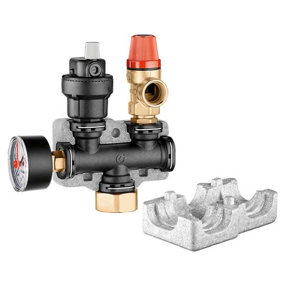 305 - Instrument holder in composite material. With air vent, safety relief valve and pressure gauge.