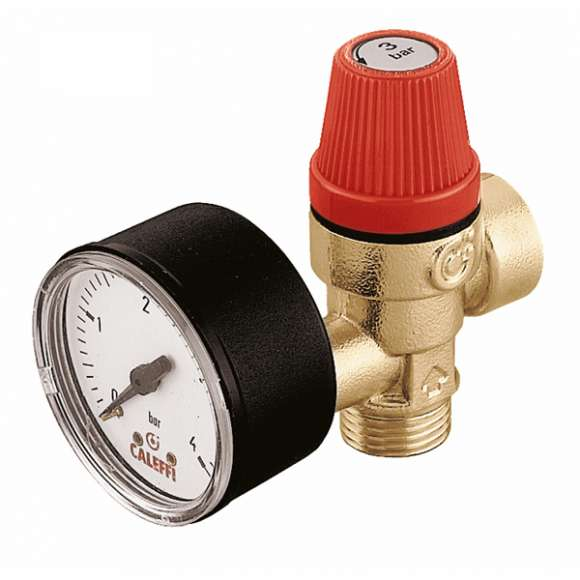 314 - Safety relief valve. Male - female connections. With pressure gauge