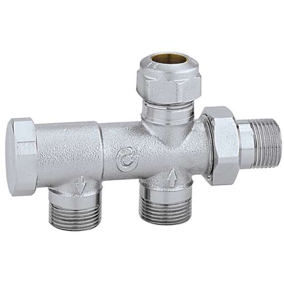 328 - Radiator valve for one-pipe systems for Ø 15 mm outside probe (454 series)