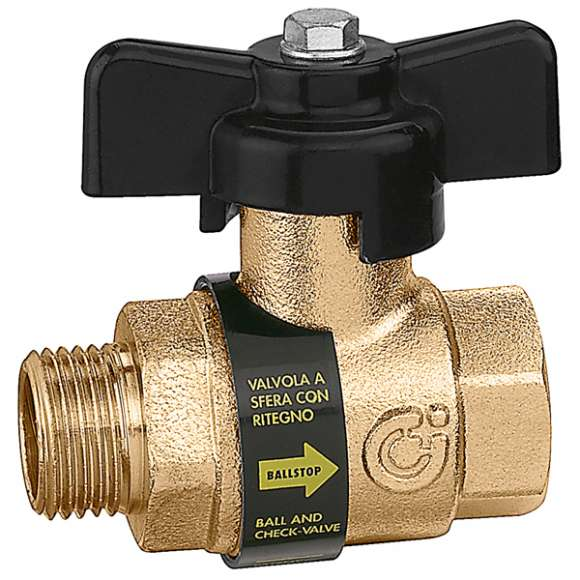 332 - BALLSTOP - Ball valve with built-in check valve / male- female connections with butterfly handle