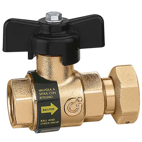 333 - BALLSTOP - Ball valve with built-in check valve / female - nut connection, drilled tamper-proof safety nut