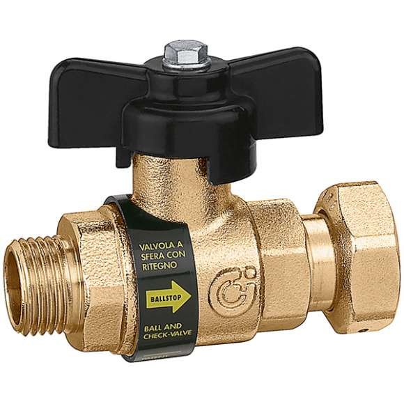 334 - BALLSTOP - Ball valve with built-in check valve / male - nut connection with drilled tamper-proof safety nut