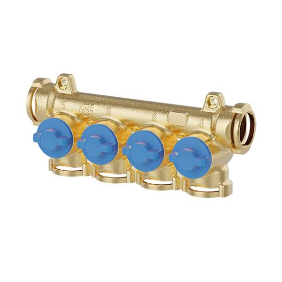 359 - Manifold with individual shut-off valves (blue knobs)
