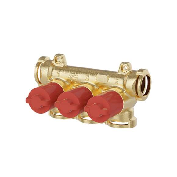 359 - Manifold with individual shut-off valves (red knobs)