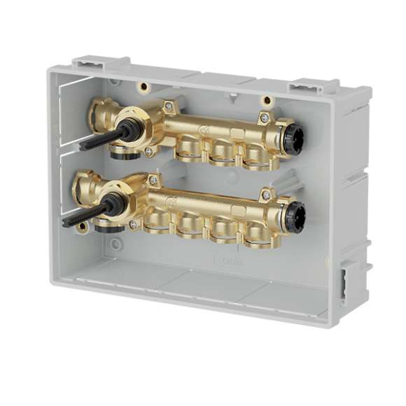 359 - Domestic water distribution manifolds pre-assembled in boxes withmain shut-off valves