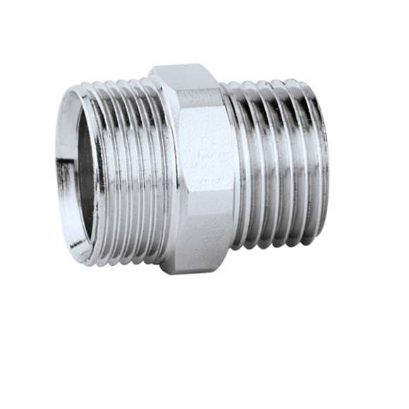 384 - Male fitting to nut and olive coupling. Chrome plated