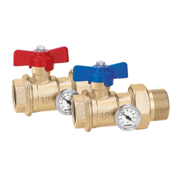 391 - Pair of ball valves with temperature gauge