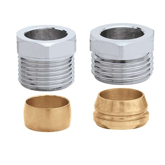441 - Compression fitting. For copper pipes. Chrome plated.
