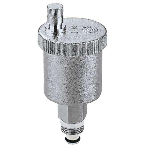 """5021 - MINICAL - Purgador de ar automático 3/8"""" M e 1/2""""M. Com torneira de interceção automática. Cromado"""
