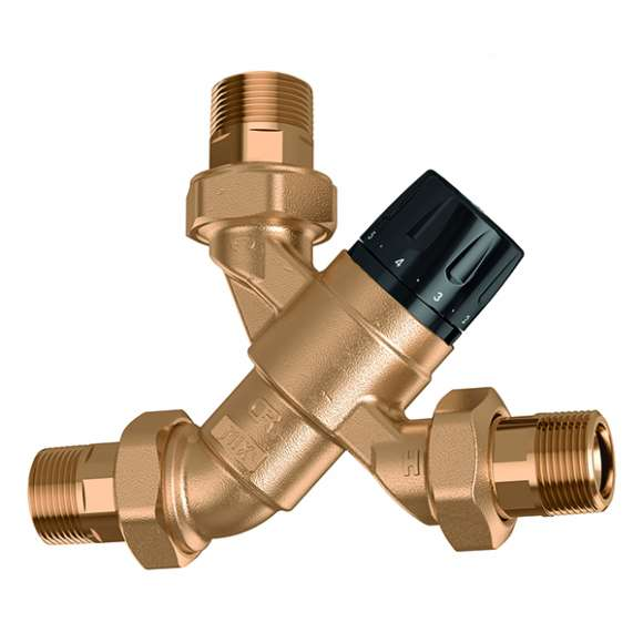 5200 - Adjustable thermostatic mixing valve with knob, complete with check valves and strainers at the inlets