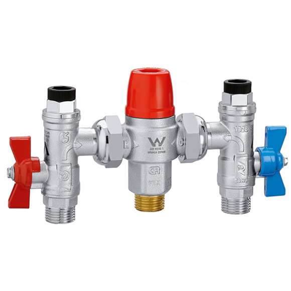 5213 - Adjustable thermostatic mixing valve with isolating valves, check valves and strainers at the inlets
