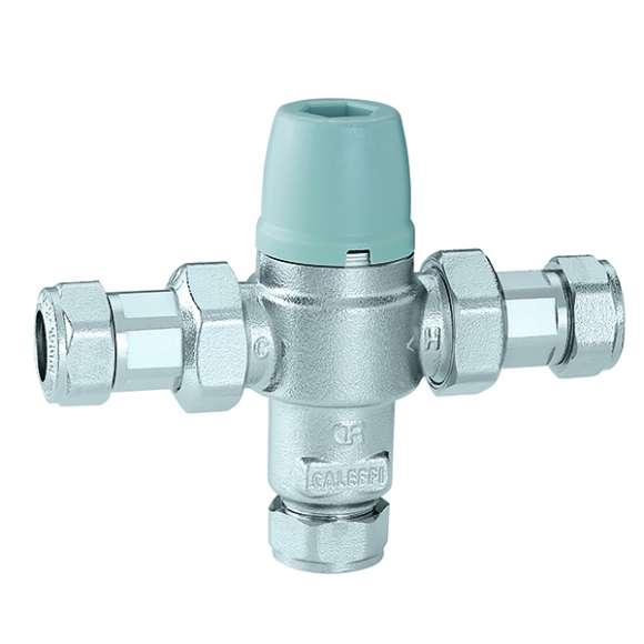 5213 - Adjustable anti-scald thermostatic mixing valve, with check valves, strainers and compression ends