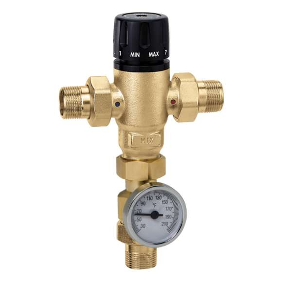 521 - MixCal™ Adjustable Thermostatic and Pressure Balanced Mixing Valve (NPT, with temperature gauge)