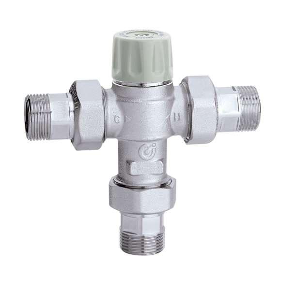 5217 - Misturadora termostática com manípulo, antiqueimadura. Com válvulas de retenção e filtros.