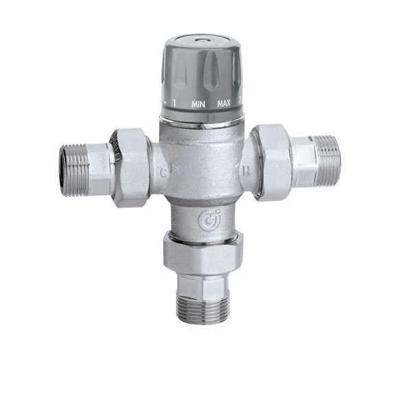 5218 - Tempering valve adjustable with knob, with check valves and strainers. Certified to EN 15092