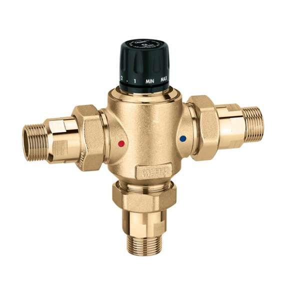 5230 - Adjustable thermostatic mixing valve, with replaceable cartridge for centralised systems. With check valves and compression ends