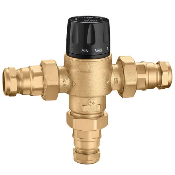 5231 - Adjustable thermostatic mixing valve, for centralized systems. With check valves and compression ends