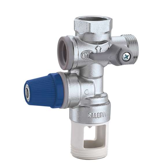 5261 - Hydraulic safety group for hot water storage heaters, with shut-off valve and controllable check valve