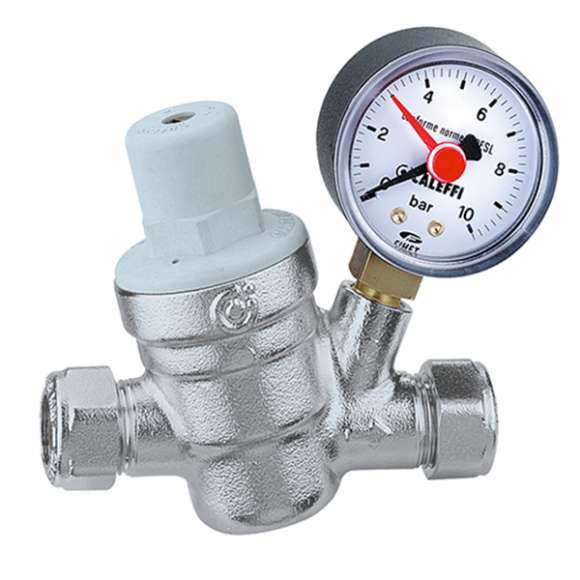 5338 - Inclined pressure reducing valve with compression ends, with pressure gauge
