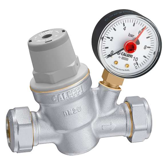 5338..H - Inclined pressure reducing valve with compression ends, with pressure gauge.  For high temperature. Dezincification resistant alloy body.