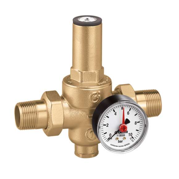 5360 - Pressure reducing valve with replaceable cartridge, with pressure gauge or connection. Male union connections