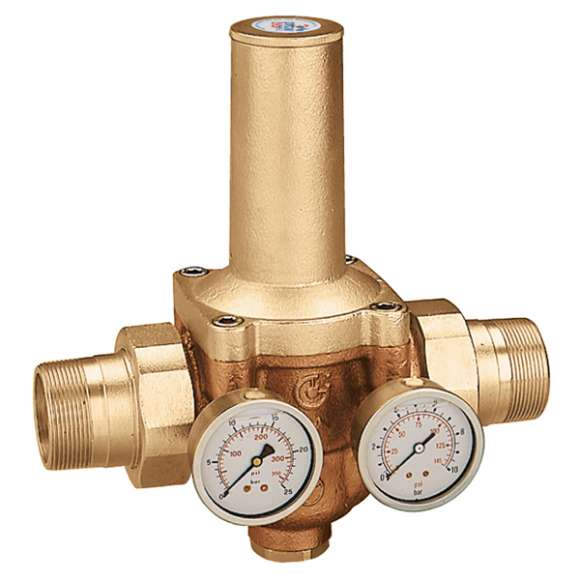 5365 - Pressure reducing valve with replaceable cartridge, with double pressure gauge or double pressure gauge connection. Male union connections
