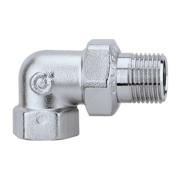 5881 - Three-piece elbow union fitting. Chrome plated