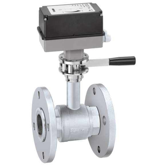 637 - Motorised two-way ball valve with manual opening. Flanged connections PN 16