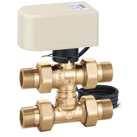 6444 - Motorised three-way ball zone valve with by-pass tee