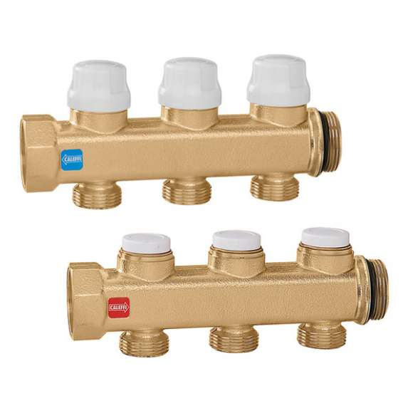 662 - Pair of manifolds equipped with shut-off and lockshield valves