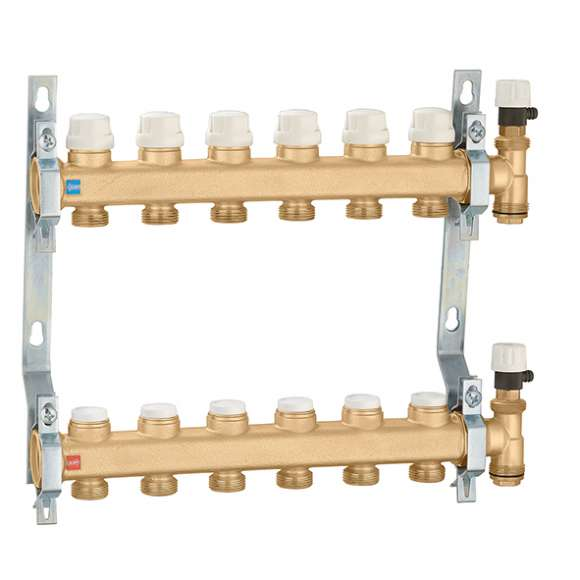 662 - Distribution manifold group with shut-off and lockshield valves
