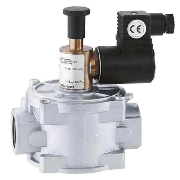 839 - Електромагнитен вентил за газ, нормално отворен, с ръчен рестарт