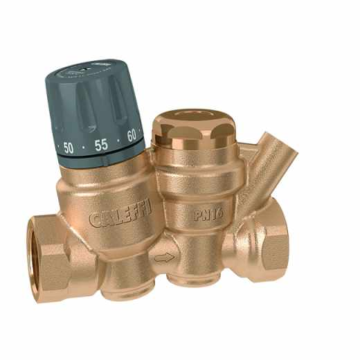 116 - Thermostatic regulator for domestic hot water recirculation circuits. With pocket for temperature gauge