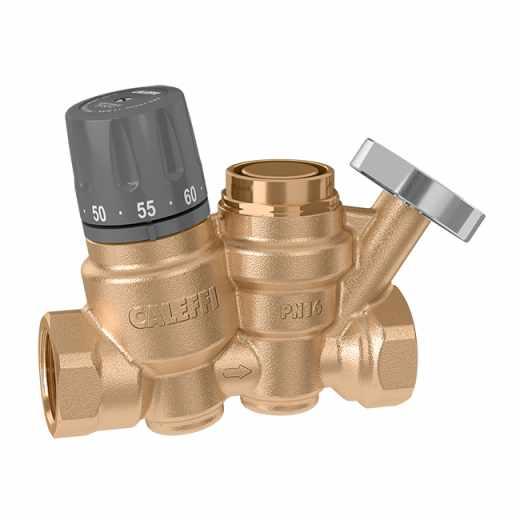 116 - Thermostatische regelaar voor recirculatieleidingen van sanitair warm water. Met thermometer voor temperatuurcontrole van het circuit.